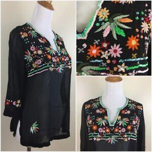 CITRON-Santa-Monica-Womens-Small-100-Silk-Beaded-Embroidery-Sheer-Shirt