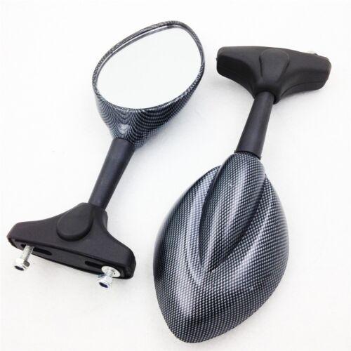 Carbon Mirror Raindrop Shape For Honda Cbr600 F4 F4I Yamaha Fzr Yzf R1 R6