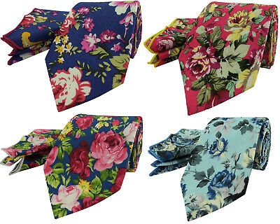 Mens Cotton Black 7CM Wide Tie Floral Red Roses Green Yellow Pocket Hanky Square