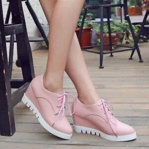 Women-Wedge-High-Heel-Creepers-Lace-up-Pointed-Toe-Platform-Leather-Casual-Shoes