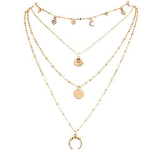 Fashion Choker Necklace Pendant Crystal Sun Moon Chain Gold Women Jewelry Charm