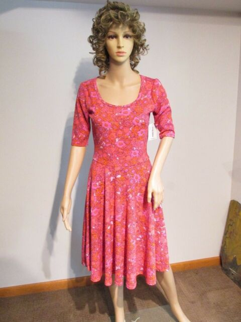 5cc2d3c4ea64 LULAROE Nicole Small Pink Red Multi-Color Floral Dress Fit & Flare NWT