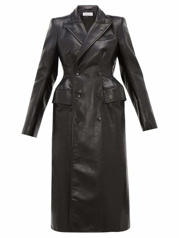 Femmes Véritable Cuir D'agneau Manteau Long Fashion Bouton Ceinture Noire