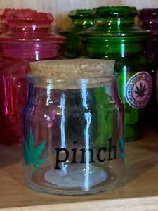 Glass-Stash-Jar-Apothecary-Prescription-Weed-Cork-Top-Pinch-With-Leaves