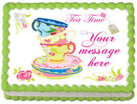 Tea Party Cups And Plates Set Image Edible Cake Topper