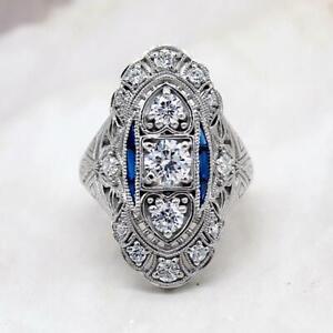 Vintage-Art-Deco-Engagement-Ring-Sapphire-2-Ct-Round-Diamond-14K-White-Gold-Over