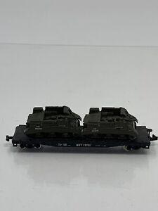Atlas-N-Scale-MKT-13709-50-039-Black-Flat-Car-Train-With-Custom-Tank-Load-G1
