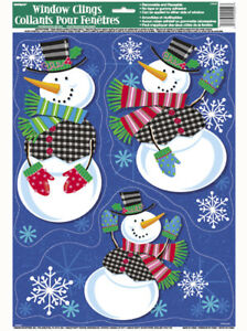 Christmas Snowmen Decorations.Details About Christmas Snowman Snowmen Window Cling Stickers Xmas Party Grotto Decorations