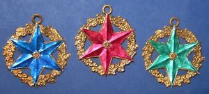 3-Stueck-antike-original-Dresdner-Pappe-Cotillon-Orden-je-ca-6cm-Raritaet-selten