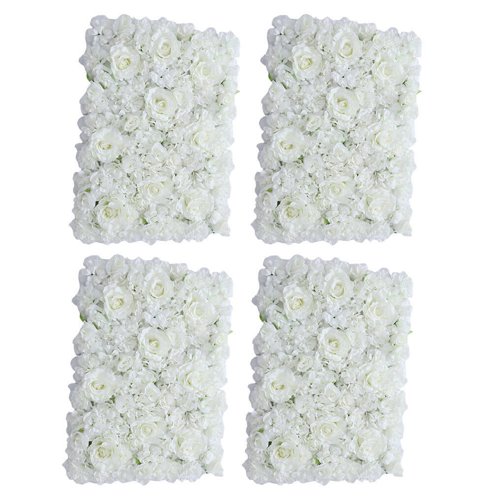 4pcs Removable Artificial Flower Wall Panel Wedding Decor Photo Props Weiß