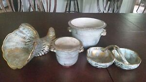 Vintage-Stangl-Pottery-Turquoise-Gold-Lot-Of-4-Pieces-Mid-Century