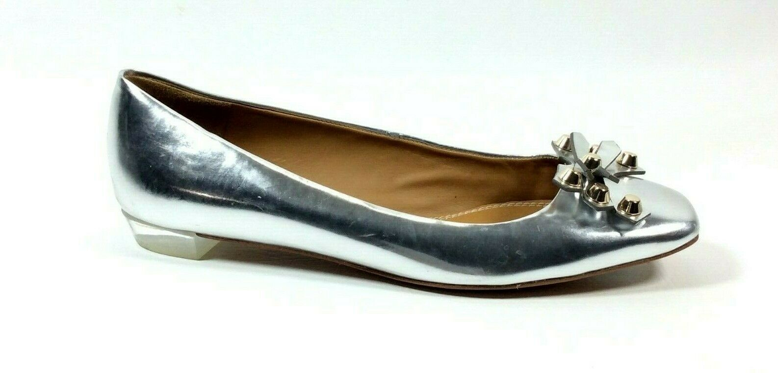 Tory Burch Womens Metallic Silver Slip On Ballet Flat shoes Size 10 M