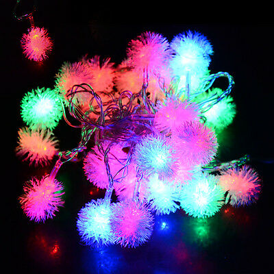 5M 28LED Fuzzy Ball String Fairy Light Christmas Xmas Party Wedding Decoration