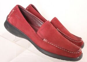 ECCO-Red-Stitched-Moc-Toe-Leather-Flats-Loafers-Women-039-s-EURO-38-US-7-5