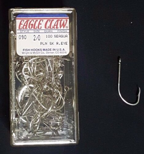 1 Pack 100 Pcs Eagle Claw 090 Plain Shank R Eye Fishing Hook Seaguard