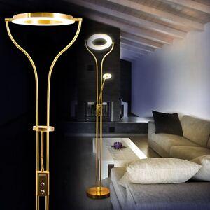 design led stehleuchte messing deckenfluter bodenleuchte standlampe mit dimmer ebay. Black Bedroom Furniture Sets. Home Design Ideas