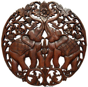 Medallion Tropical Wood Carved Lucky
