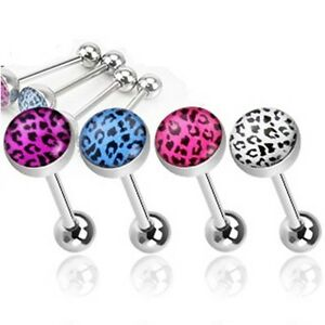 New-Surgical-Steel-Barbell-Leopard-Print-Dome-Tongue-Bar-Choose-Colour