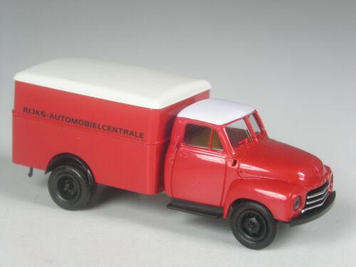 RARO Brekina Holland OPEL BLITZ riquadro Rijks automobielcentrale Rosso in scatola originale