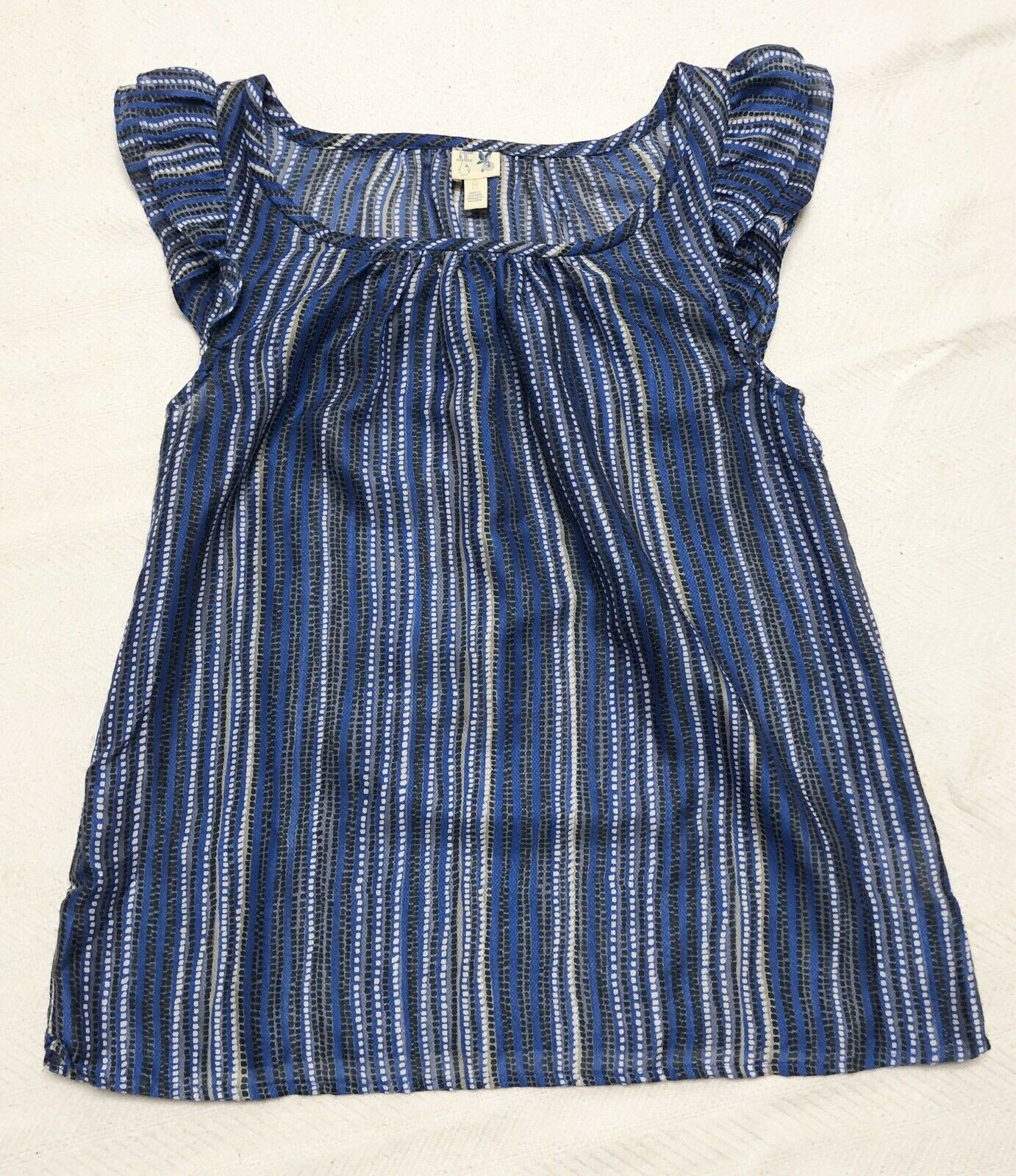 Pretty bluee, Grey & White Striped Top With Flutter Sleeves Sz 8 LKNW
