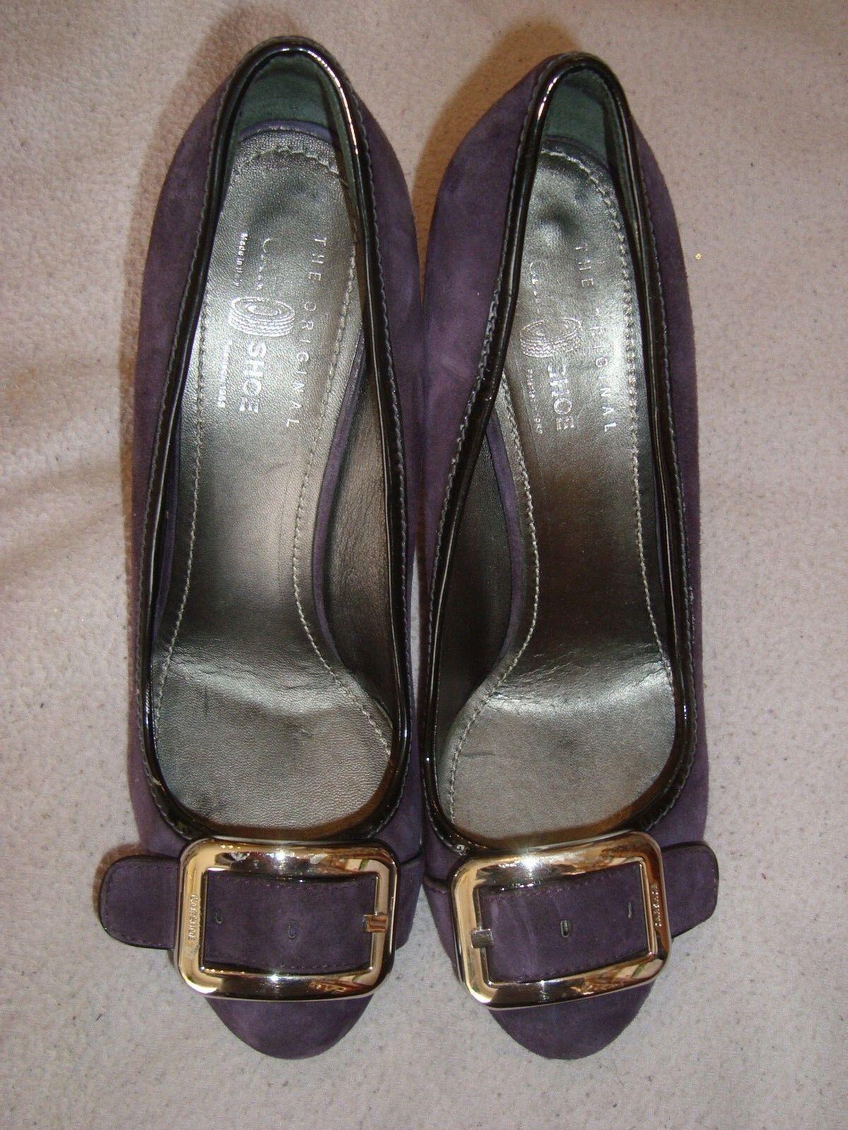 CAR chaussures by PRADA UK 7 EU 40 violet  Suede   noir patent leather