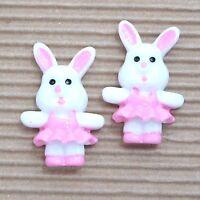 Wholesale- 20pc X 1.25 Resin Easter Bunny/rabbit Girl In Skirt Flatbacks Sb585w