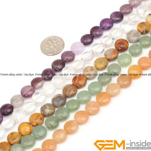 Natural-Assorted-Stones-Coin-Spacer-Loose-Beads-For-Jewelry-Making-Strand-15-034-YB