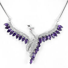 NATURAL PURPLE AMETHYST RUBY & CZ STERLING 925 SILVER PEACOCK NECKLACE 17.75