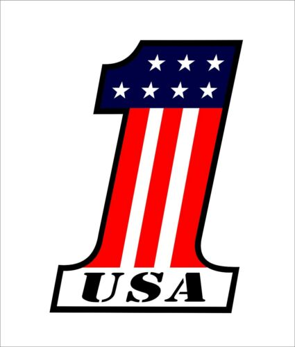 """/""""1/"""" American Flag Number One United States Decal Car Bumper Helmet Decal Sticker"""