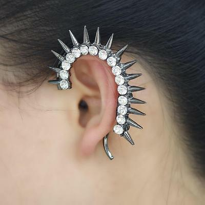 Gothic Punk Rivet Spike Crystal Rhinestone Ear Cuff Wrap No-Piercing Earring