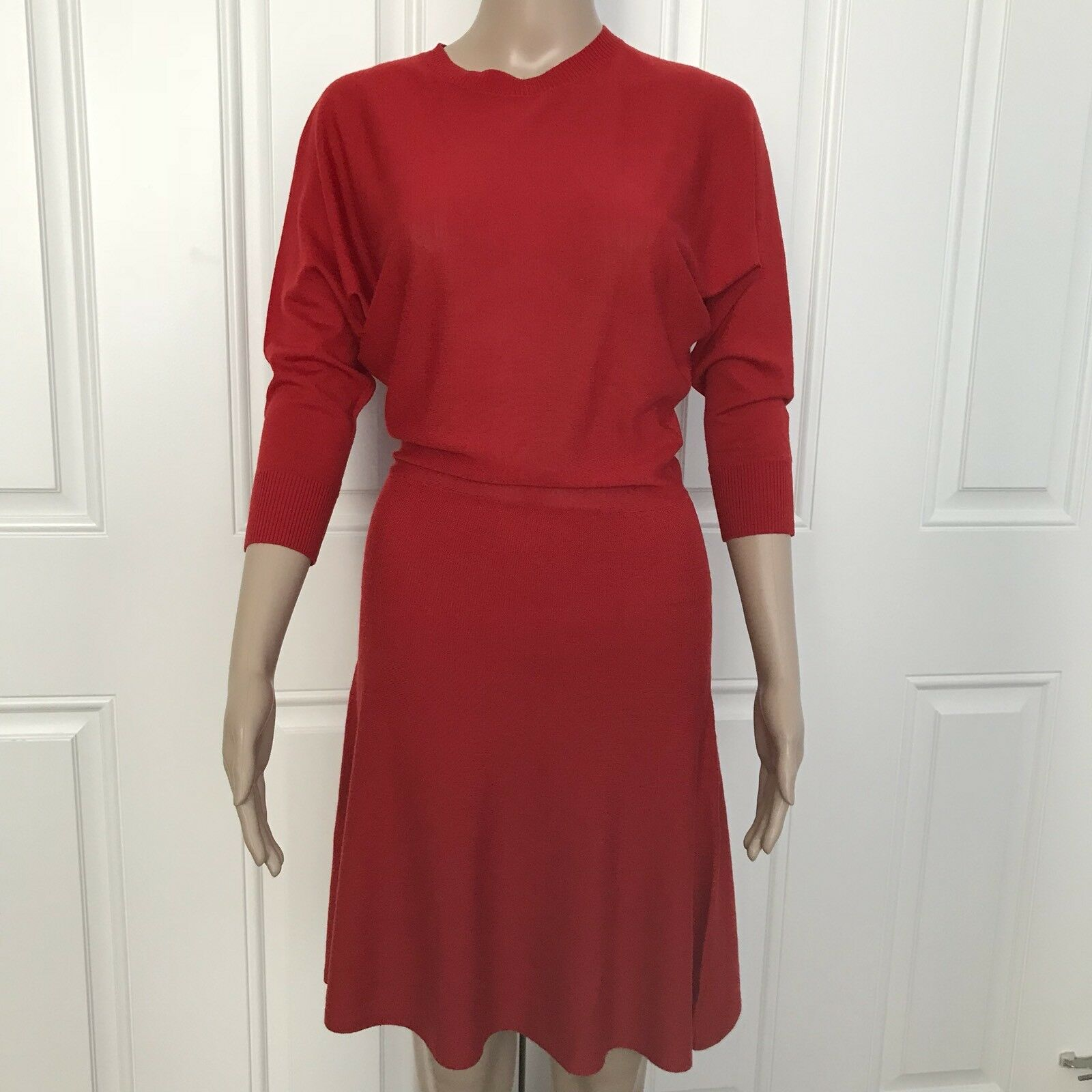 695 NWT Sexy HANLEY Womens M Red 100% Merino Wool Knit Fit & Flare A-Line Dress