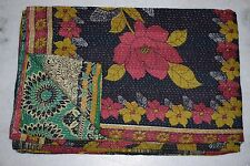 VINTAGE KANTHA QUILT AUTHENTIC THROW REVERSIBLE BLANKET INDIAN COTTON RALL M237