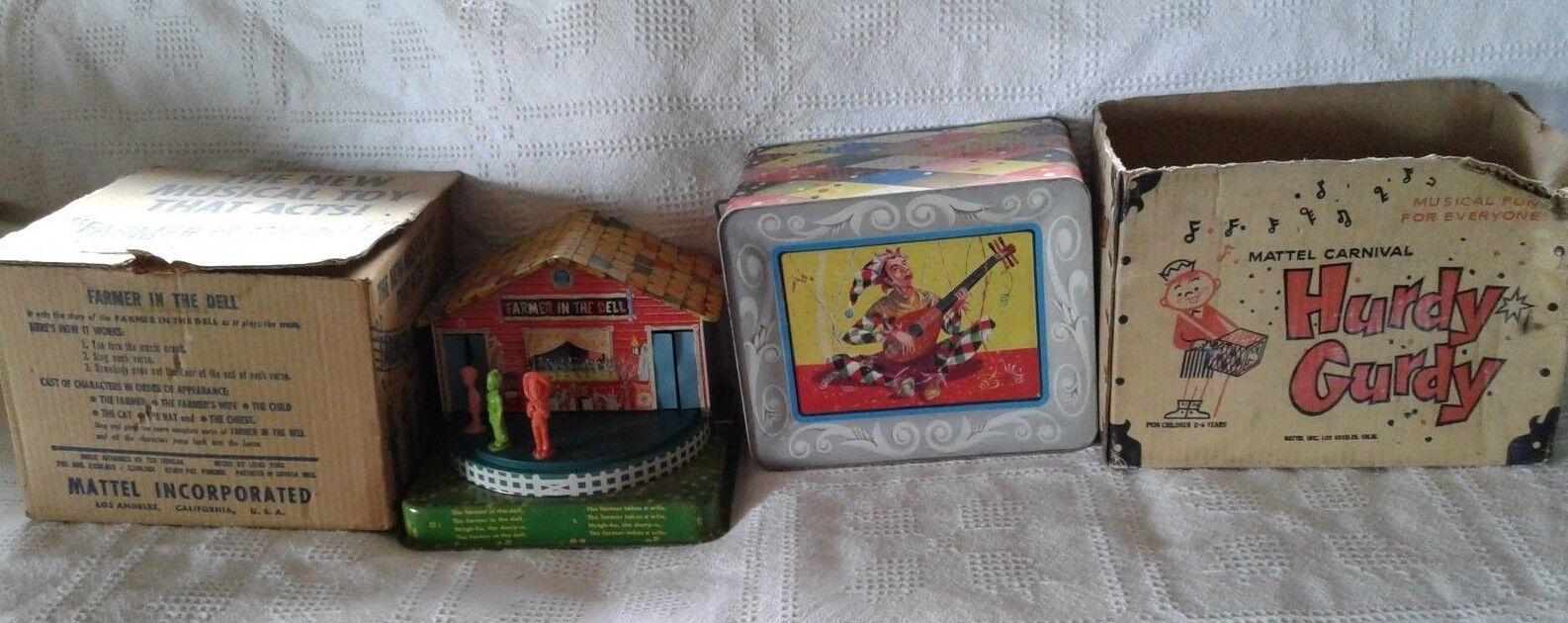 Vintage década de 1950 Mattel granjero en Dell & zanfona Litografía de estaño con cajas