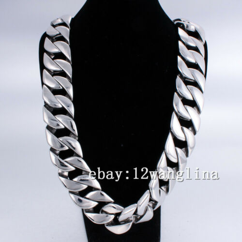 31MM Super Heavy Curb Link Men/'s Chain Silver Tone 316L Stainless Steel Necklace