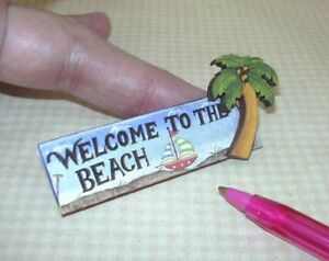 Miniature-3-D-Beach-Picture-Sign-034-Welcome-to-the-Beach-034-w-Palm-DOLLHOUSE-1-12
