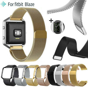 Milanese-Stainless-Metal-Magnetic-Loop-Wrist-Band-Strap-Frame-For-Fitbit-Blaze