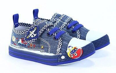 Chicos Zapatos de Lona Zapatillas Bebé Niño plantillas de cuero real tamaño 7UK En Caja Nuevo