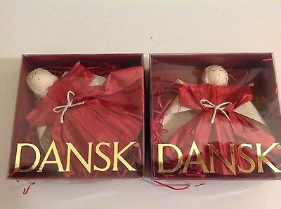 Clearance Sale! 2-Vintage Dansk Christmas Angel in Box Ornament xmas
