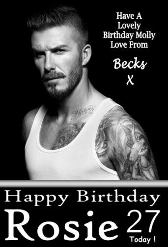 any name!!!!!!!!! DAVID BECKHAM gorgeous  Personalised Birthday Card! 2