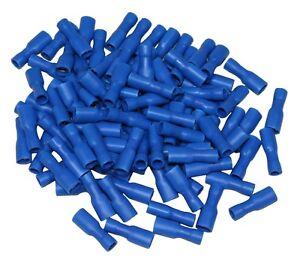 100x-COSSES-ELECTRIQUES-ISOLEES-A-SERTIR-PLATES-4-75-MM-FEMELLES-BLEU-C1295