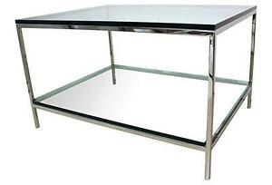 Details About Design Insute Of America 2 Tier Gl And Chrome Coffee Table 3 4 In