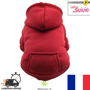 Pull-Sweat-rouge-avec-Capuche-pour-Chien-ou-Chat-taille-XS-Neuf-FR