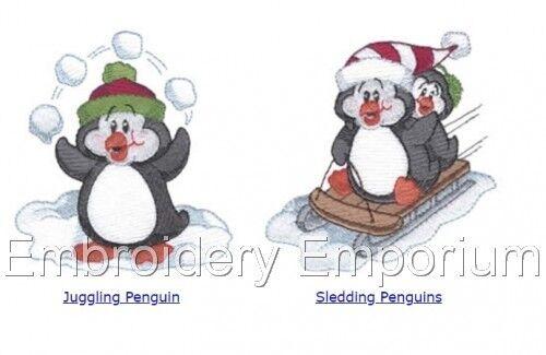 Playful pingüinos Colección-diseños de bordado de la máquina en CD o USB
