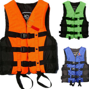Polyester-Adult-Life-Jacket-Universal-Swimming-Boating-Ski-Vest-Whistle-New-Tn