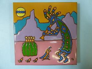 """Ceramic Art Tile 6""""x6"""" Kokopelli Watercolor look handpainted cactus trivet F72"""