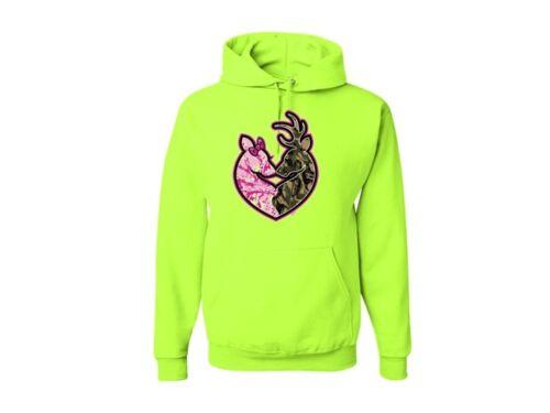 Colors Avail Hoodie Sweatshirt  SM To 3XL Buck Camo /& Pink Doe Heart Deer Asst