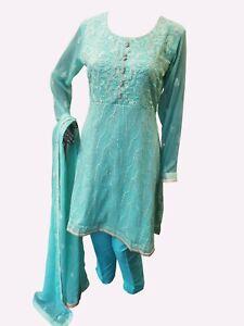 Indian-Pakistani-Shalwar-Kameez-Salwar-Saree-Suit-Dress-Wedding-Designer-Green