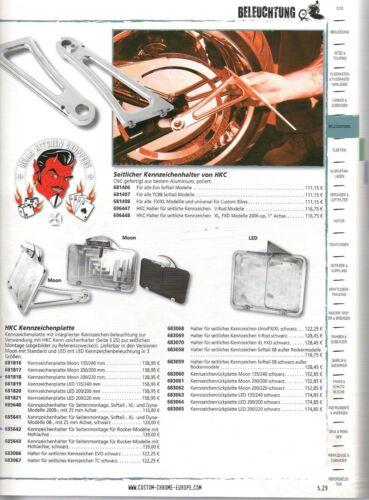 Kennzeichenhalter seitlich bef.Alu HarleyDavidson Softail 1987-07 3//4 Zoll Achse
