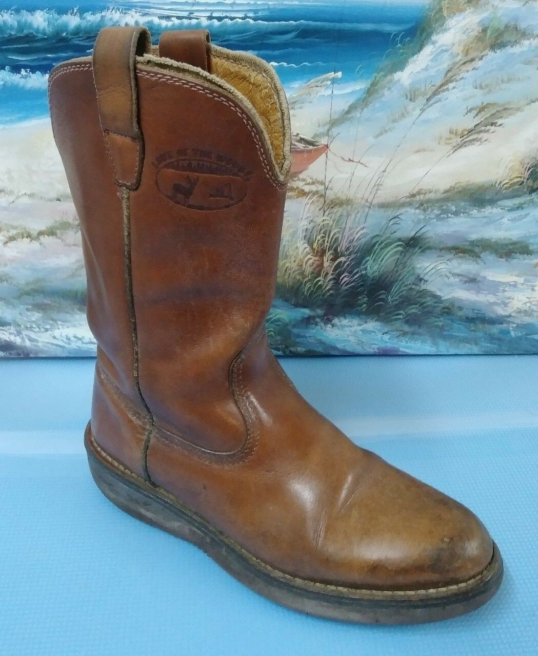 LAKE OF THE WOODS Men's Brown Leather Boots Western sz 8.5D
