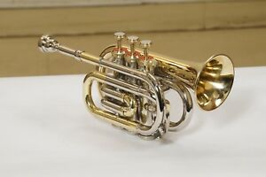 Pocket-Trumpet-Brass-Nickel-Plated-Bb-pitch-with-hard-case-MP